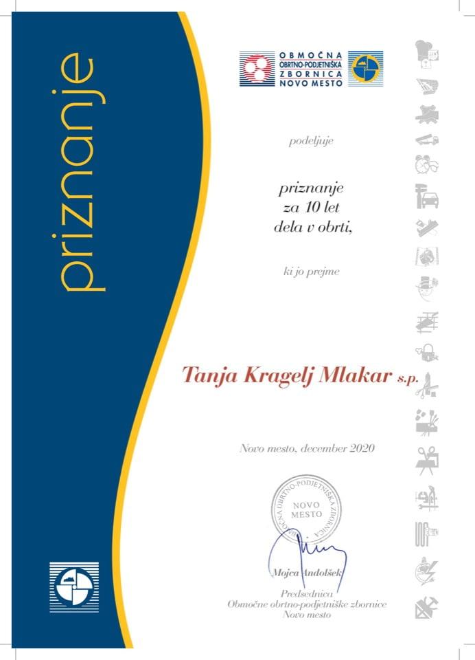 Priznanje_10 let dela v obrti_Tanja-Kragelj-Mlakar
