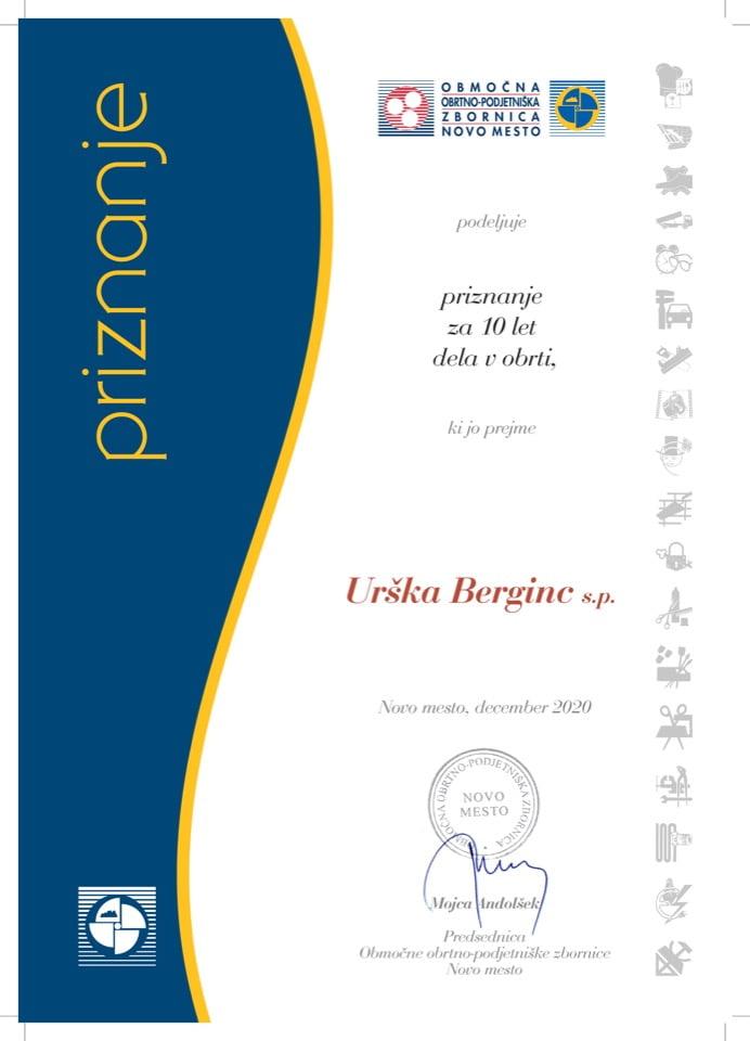 Priznanje_10 let dela v obrti_Urska-Berginc