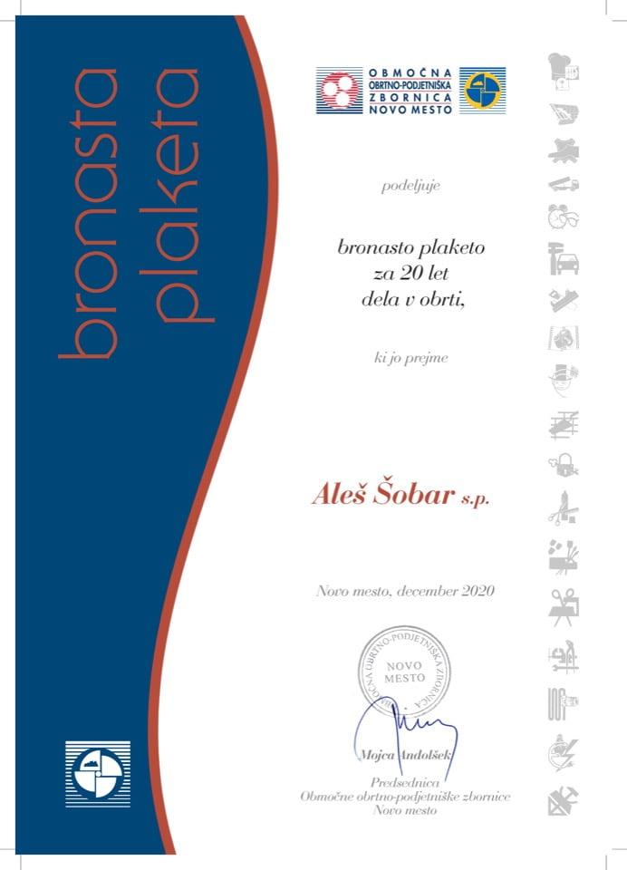 Priznanje_20 let dela v obrti_Ales-Sobar