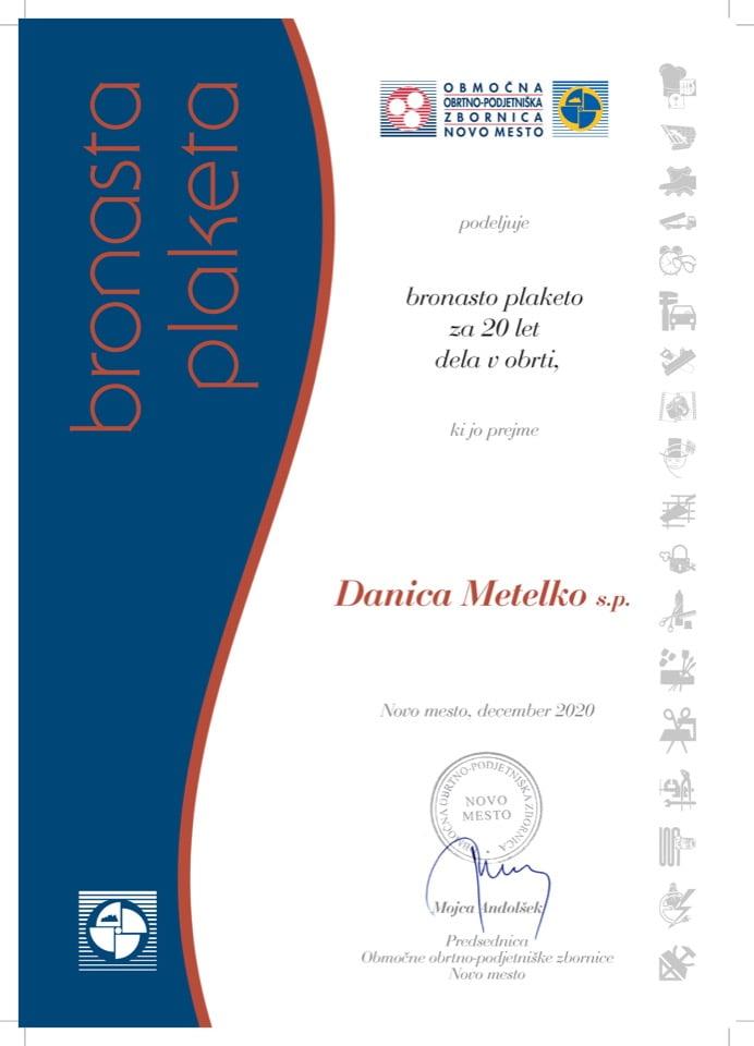 Priznanje_20 let dela v obrti_Danica-Metelko
