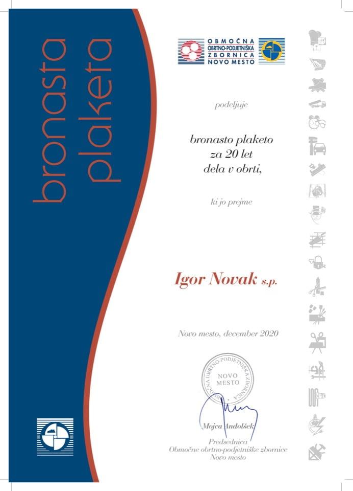 Priznanje_20 let dela v obrti_Igor-Novak