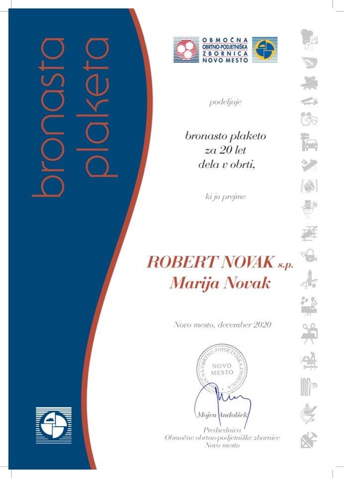 Priznanje_20 let dela v obrti_Robert-Novak