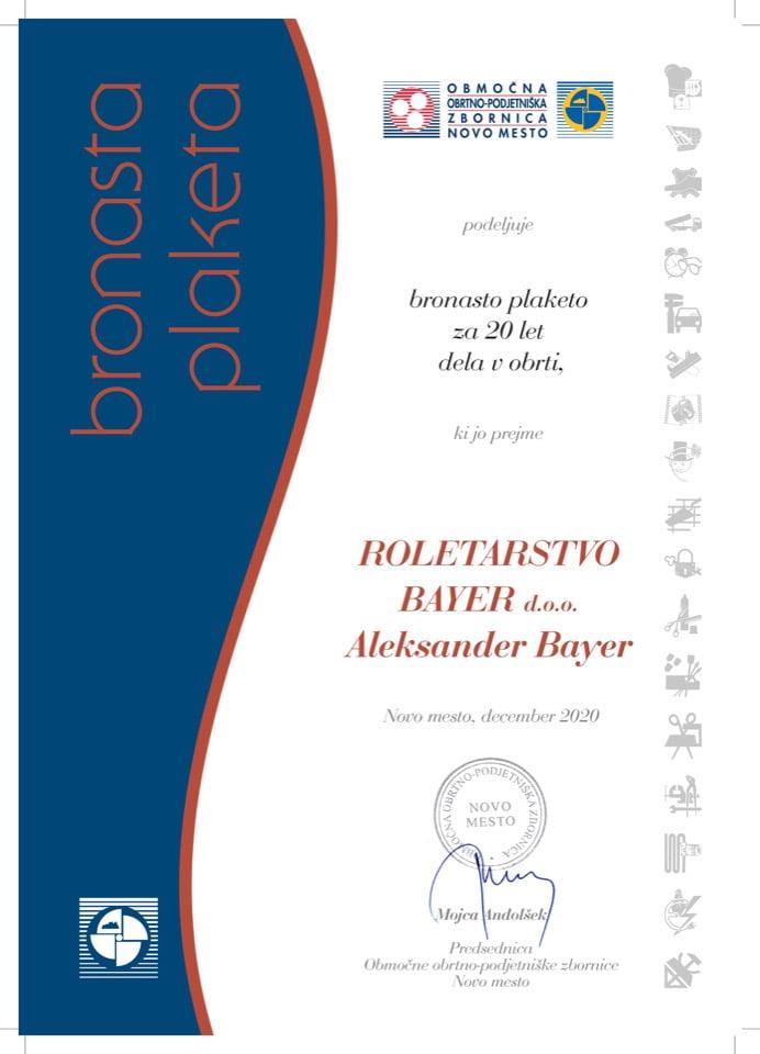 Priznanje_20 let dela v obrti_Roletarstvo-Bayer