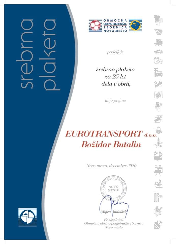 Priznanje_25 let dela v obrti_Eurotransport-Bozidar-Butalin