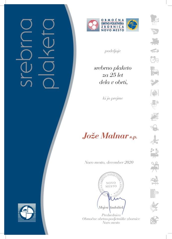 Priznanje_25 let dela v obrti_Joze-Malnar