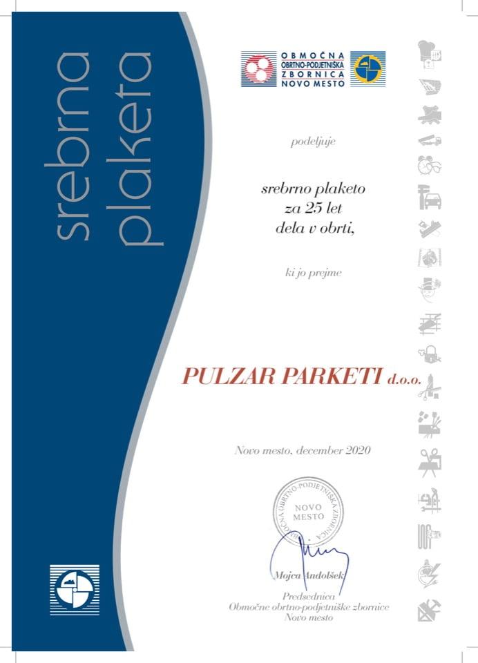 Priznanje_25 let dela v obrti_Pulzar-Parketi