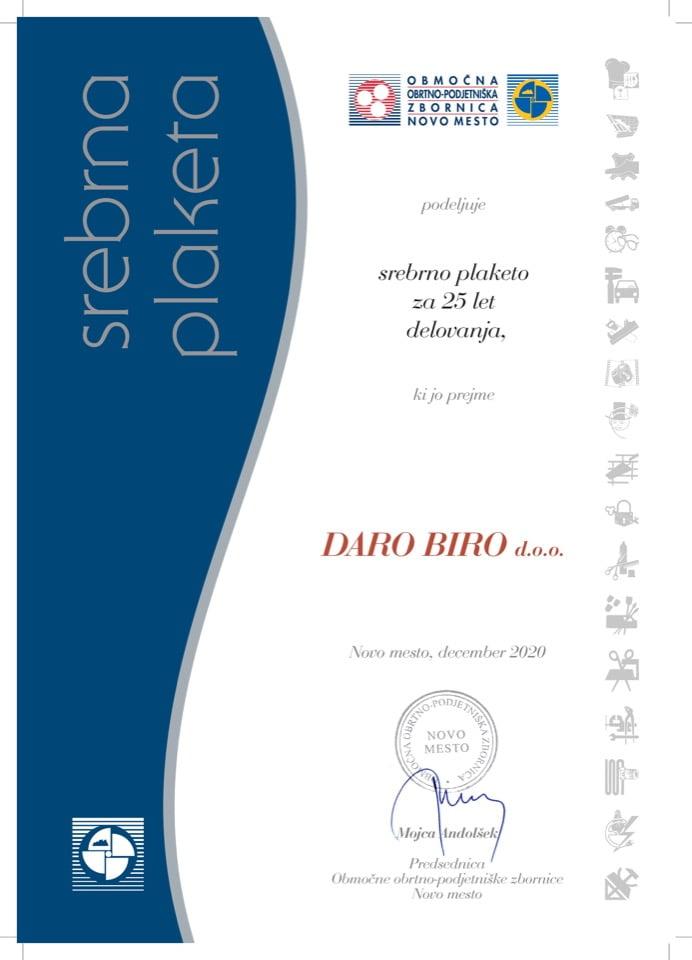 Priznanje_25 let delovanja_Daro-Biro