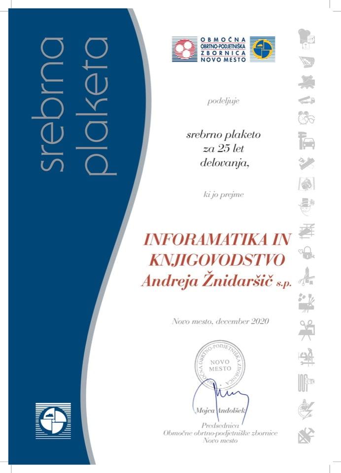 Priznanje_25 let delovanja_Informatika-in-knjigovodstvo