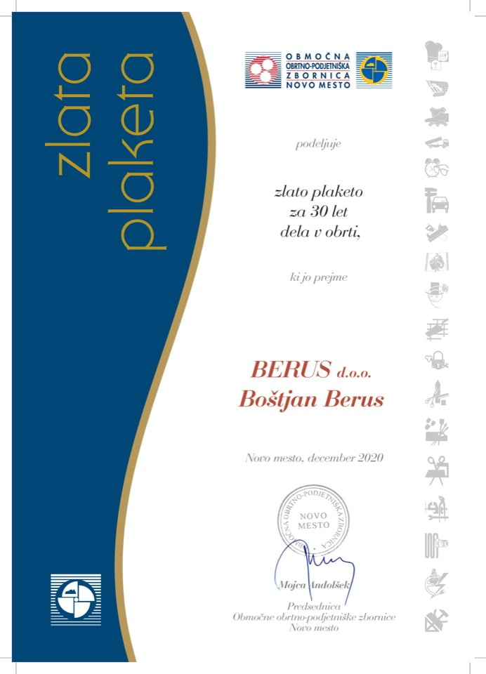 Priznanje_30 let dela v obrti_BERUS