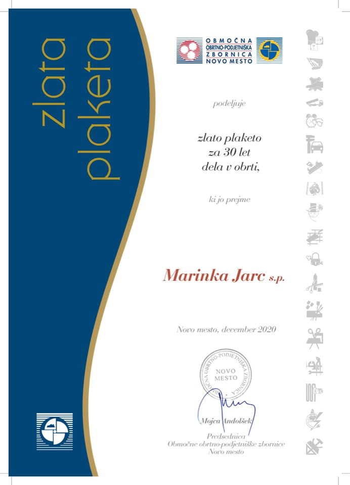Priznanje_30 let dela v obrti_Marinka-Jarc