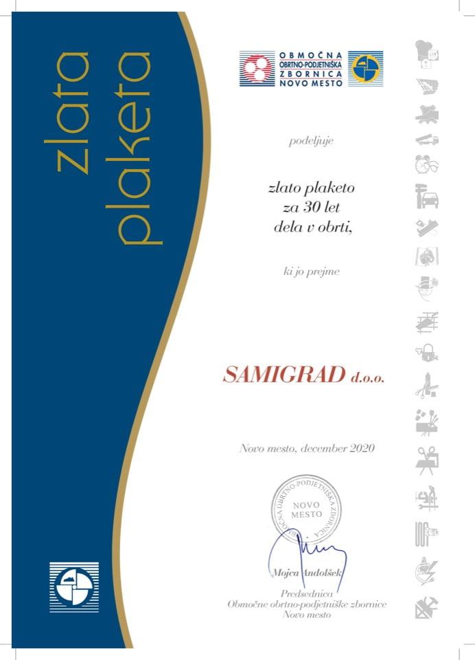 Priznanje_30 let dela v obrti_Samigrad