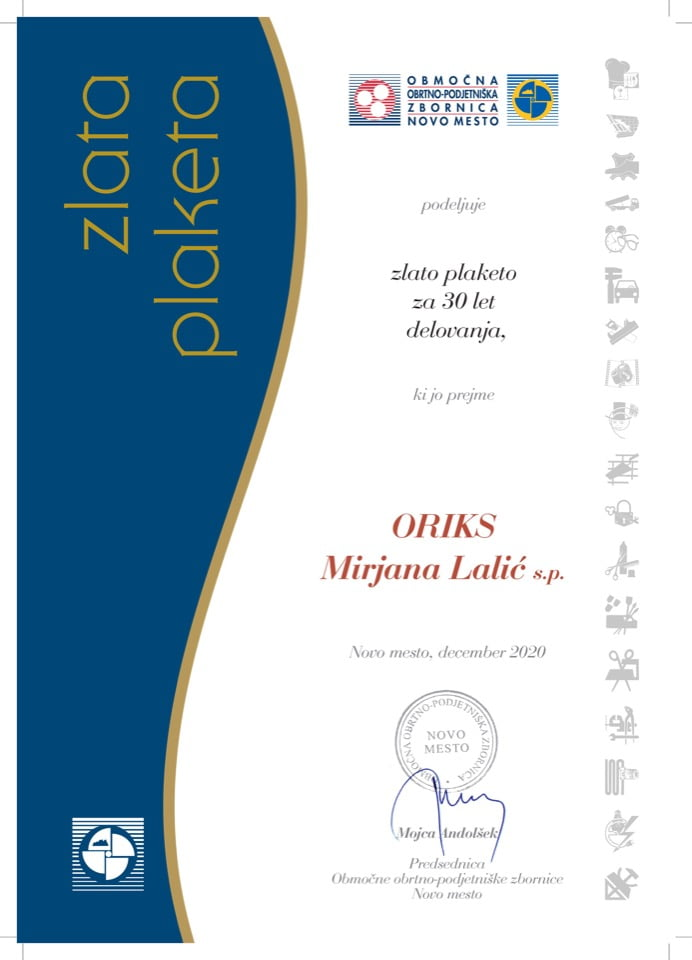 Priznanje_30 let delovanja_ORIKS-Mirjana-Lalic